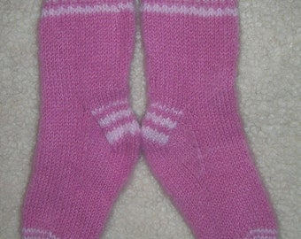 Socks Pink  Wool Hand Knit Socks - Slippers  100% Wool