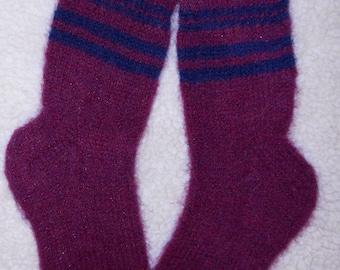 Socks Plum-Blue Wool Hand Knit Socks Woman 9-11  100% Wool