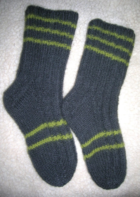 Items similar to Big Kids Hand Knit Wool Socks Heavy, Soft ...