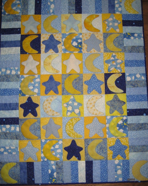 Stars And Moon Applique Baby Quilts By Pattiashton On Etsy