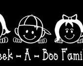 Peek A Boo Family Car Decal Sticker Custom Made Personalized