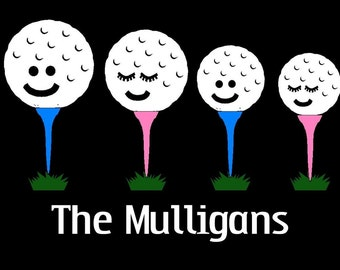 Golf Ball Family Car Decal Sticker Custom Made