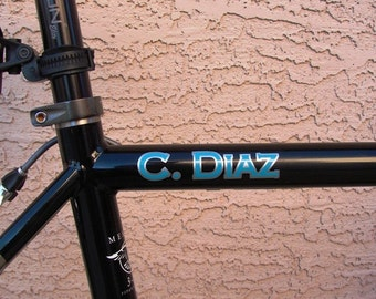 2 Color Bike Frame Name Decals Set of 2