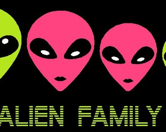Alien Family Car Decal Sticker Custom Made