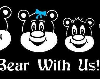 Teddy Bear Family Car Decal Sticker Custom Made