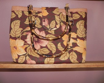 Floral Purse/Tote Bag with Bamboo Handles / Item # 50