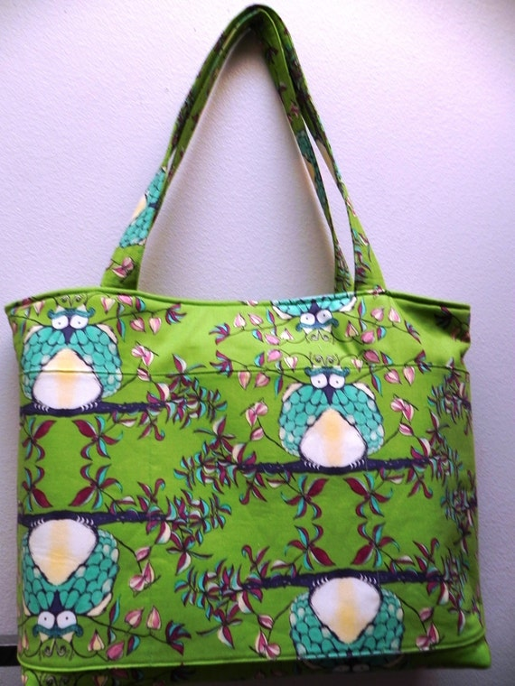 Whimsical Lime Green with Blue Owl Purse/Tote Bag