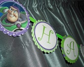 Buzz Lightyear, Toy Story Happy Birthday Banner - Customized, Personalized -Adjustable Length -Purple and Green - Buzz Lightyear or Variety