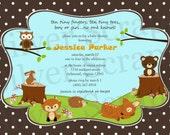 Woodland Forest Animals Custom Baby Shower or Birthday Invitation - Unisex, Boy, Girl, Twins - Brown, Green, Orange - 5 Designs (Printable)