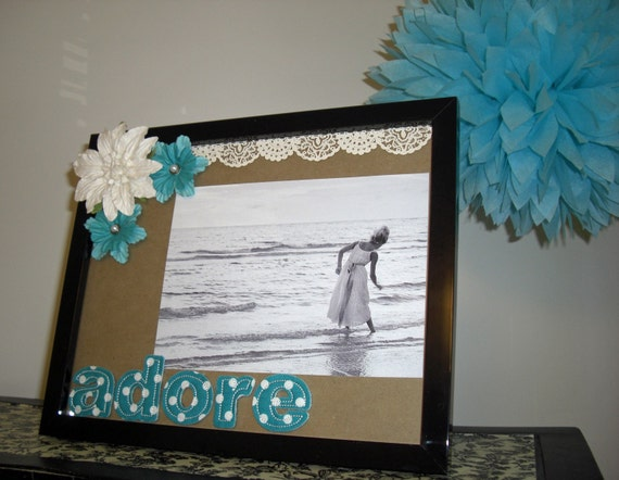 Adore. Altered 8x10 Picture Photo Frame - Fabric Letters, Mulberry Flowers - Turquoise, White, Lace, Pearls, Aqua, Sweet