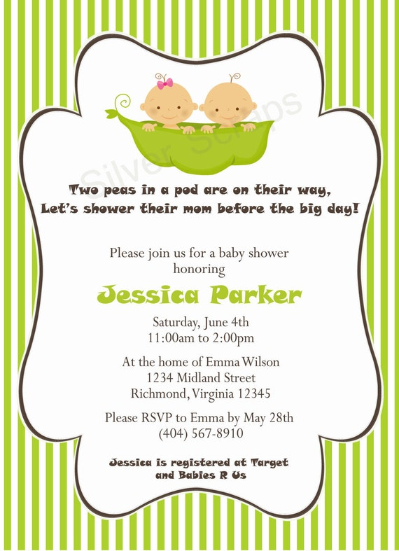 two peas in a pod custom baby shower invitation unisex twins