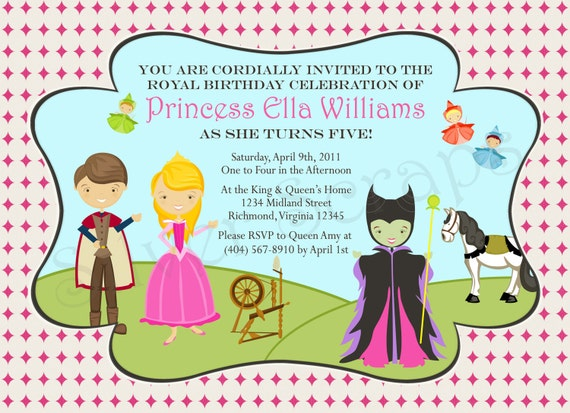 Items similar to Sleeping Beauty Custom Digital Princess Birthday – Sleeping Beauty Party Invitations