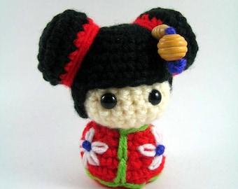 Chibi Kokeshi Doll Amigurumi Crochet Pattern PDF file