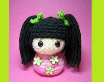 Hattie Kokeshi Doll Amigurumi Crochet Pattern PDF file