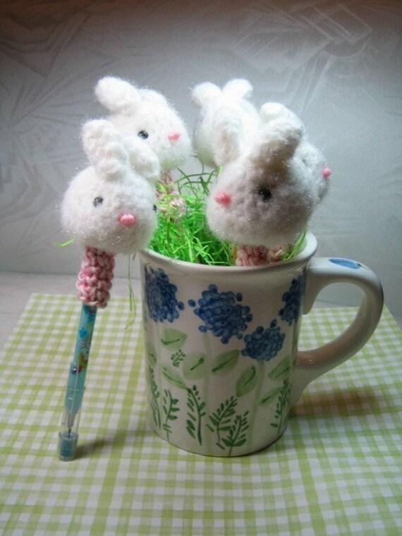 Bunny Pencil Toppers - Crochet Pattern - PDF File