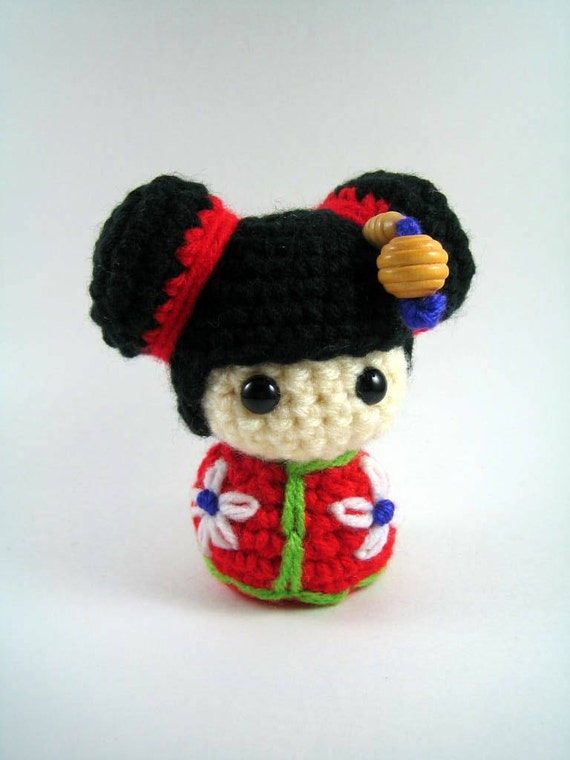 Amigurumi Chibi Doll Pattern Free : Items similar to chibi kokeshi doll amigurumi crochet