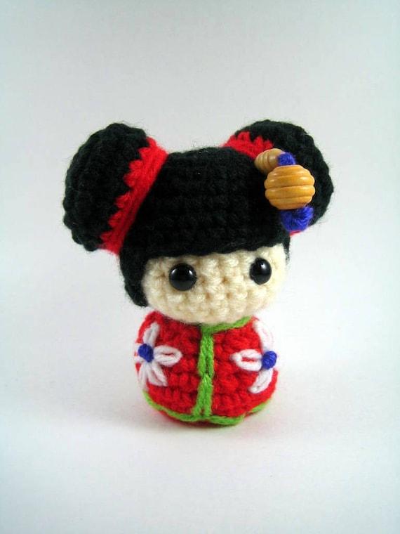 Amigurumi Free Pattern For Beginners : Chibi Kokeshi Doll Amigurumi Crochet Pattern PDF file
