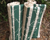 Emerald Green Organic Baby Blanket / Rustic Woodland Birch Trees and Birds - Eco Friendly Kids Bedding (Ready to Ship)