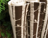 organic baby blanket in brown rustic birch trees and birds (READY TO SHIP)