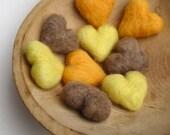 honey heart felt pebbles in wool/ gold, lemon and tea / set of nine