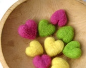 felted heart pebbles love / handmade eco friendly in lemon, lime or pink grapefruit (set of three)