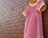 reserved for graftinghall / modern girls gingham dress / red and white checks