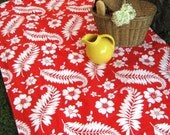 Summer Picnic Blanket - XL Botanical Red White Beach Blanket in Vintage Midcentury Modern Cotton (Last One)