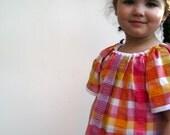 sweet upcycled girls dress size 5 6 toddler/ handmade in vintage pink and orange gingham seersucker (LAST ONE)
