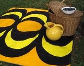 PICNIC BLANKET - Summer Beach Blanket in Rare Collectible Vintage 1965 Marimekko Geometric Mod Yellow Gold Black (Last 1) Wedding Gift
