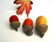 autumn hand felted wool acorns set of 12 / auburn orange, barn red and sunset yellow
