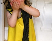 girls mod yellow custom dress handmade yellow is the new black party clothing (made to order)