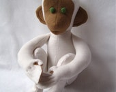 ORGANIC toy monkey baby stuffed animal in natural white brown / Makoto - modern kids child gift