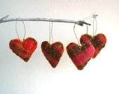 eco friends heart felts ornaments set of 4 / pink citrus textured tartan plaid wool