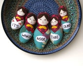 matryoshkas cloth nesting dolls set of 5 in turquoise and purple / hand embroidered it's what's inside that counts