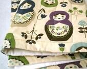 matryoshkas organic baby quilt handmade with Russian dolls / eco friendly kids (LAST ONE)