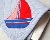 Organic Baby Quilt - SAILOR Nautical Ocean Ship - Modern Eco Friendly Striped Red Blue Kids Bedding (Ready to Ship)