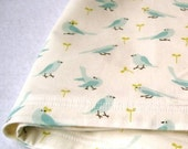 Organic Baby Blanket Bib SET of 2 in Light Blue Birds Flock - Eco Friendly Baby Shower Gift for Boys and Girls - SALE - SewnNatural