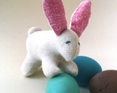 organic rabbit and 3 wooden Easter eggs spring set - natural baby bunny softie LAST ONE, ready to ship