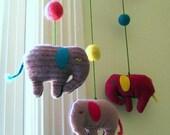 RESERVED for Jasmeet - upcycled mobile soft pink wool felt elephants for modern baby nursery