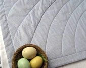 organic baby crib quilt / handmade in eco friendly easter robin's egg gray blue (READY TO SHIP)