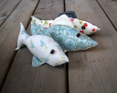 FISH toys stuffed animals set of 3 - nautical summer home decor in red white and blue - stuffies for eco friendly kids (ready to ship)