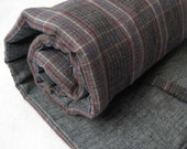 organic plaid flannel nap mat / modern handmade toddler essential in unisex charcoal gray