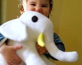 Organic Baby Elephant- Organic Baby Toy in White Organic Fleece- Organic Stuffed Animal Elephant