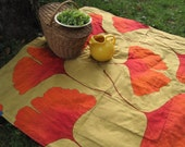 RESERVED - Picnic Blanket- MARIMEKKO Large Outdoors Blanket in Orange and Gold Gingko Leaves (Wedding Gift Idea)