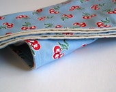 organic baby blanket burp cloth and bib set of 3 with midcentury vintage cherries on sky blue (READY TO SHIP)