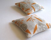 midcentury modern balsam fir sachets pair in orange and gray geometric eco friendly linen (READY TO SHIP)
