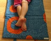 mod eco kids nap mat / natural blue orange mandala for preschool daycare (Made to Order)