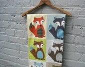 RESERVED - Organic Baby Blanket -  Modern Woodland Fox Eco Friendly Kids Boys Bedding (last 1)