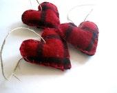 Lumberjack Heart Felts SET of 5 - Wool Heart Ornaments in Red Plaid - Eco friendly Love