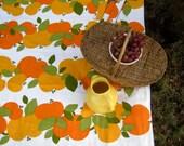Reserved for malte - Oranges Picnic Blanket - Summer Beach Blanket Handmade with Vintage 1970s Scandinavian Fruit - Outdoors Food Blanket